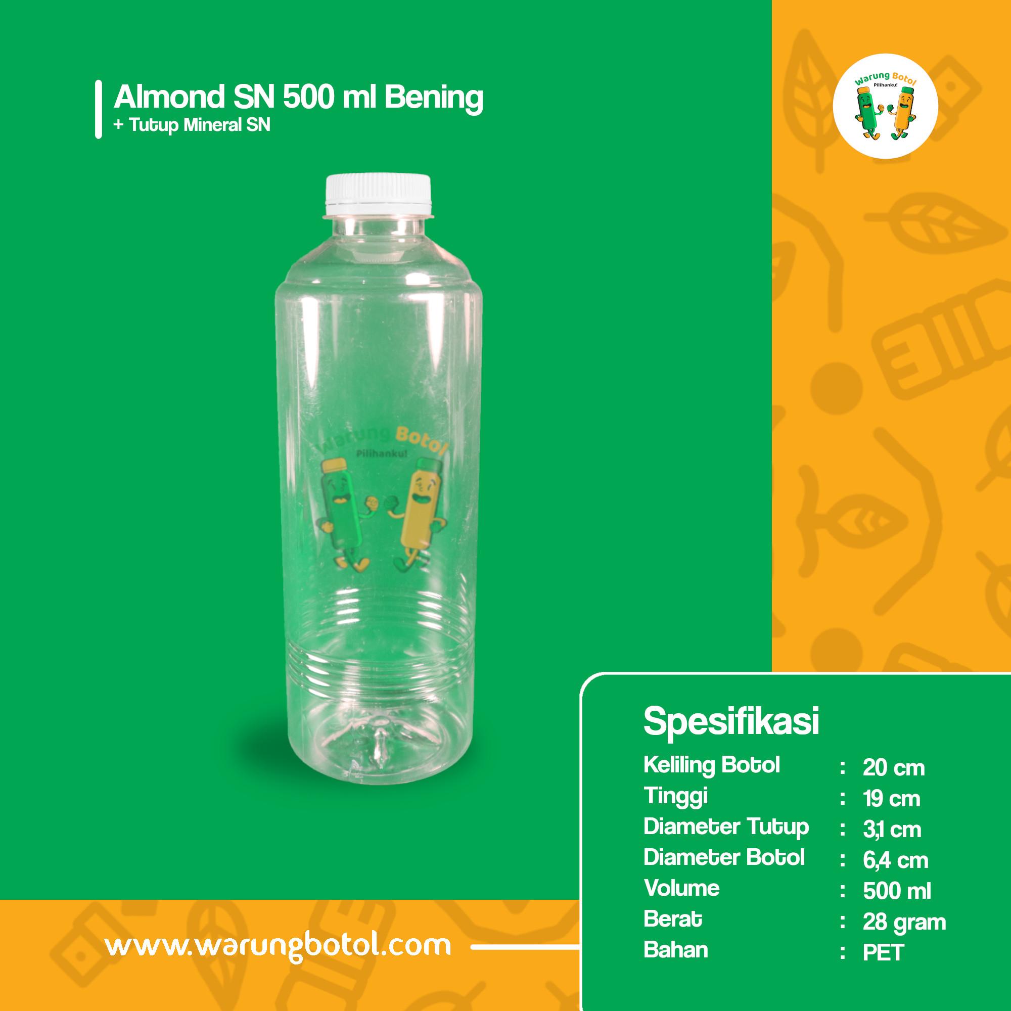 distributor toko jual botol plastik almond kale 500ml murah terdekat di bandung jakarta bekasi bogor