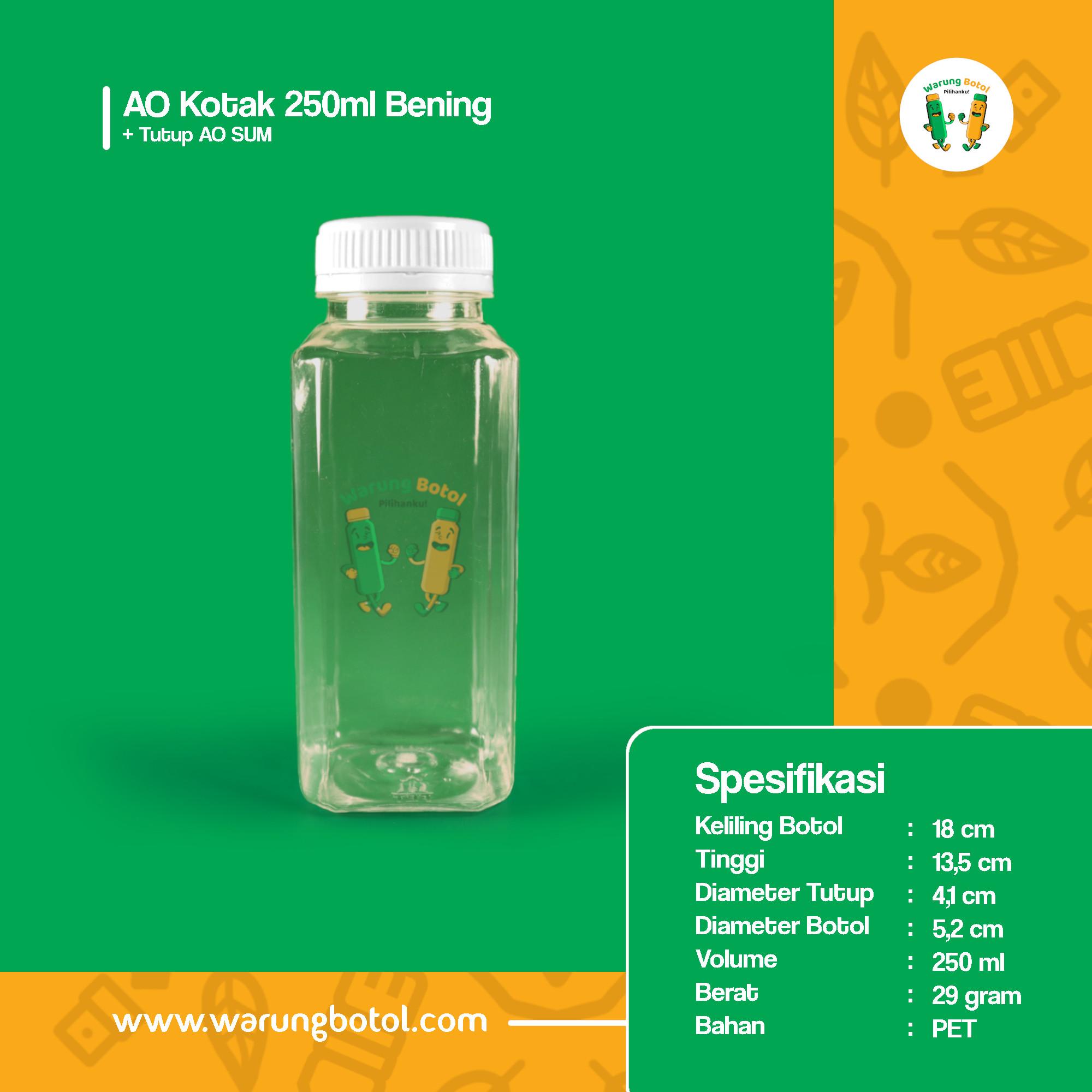 distributor jual botol kale kotak 250ml bening murah terdekat bandung jakarta bogor bekasi