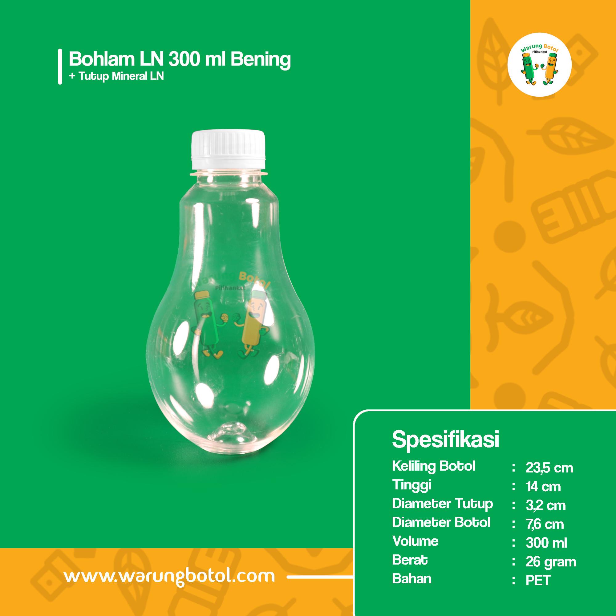 distributor toko jual botol plastik minuman unik bentuk bohlam 300ml bening murah terdekat bandung jakarta bogor bekasi