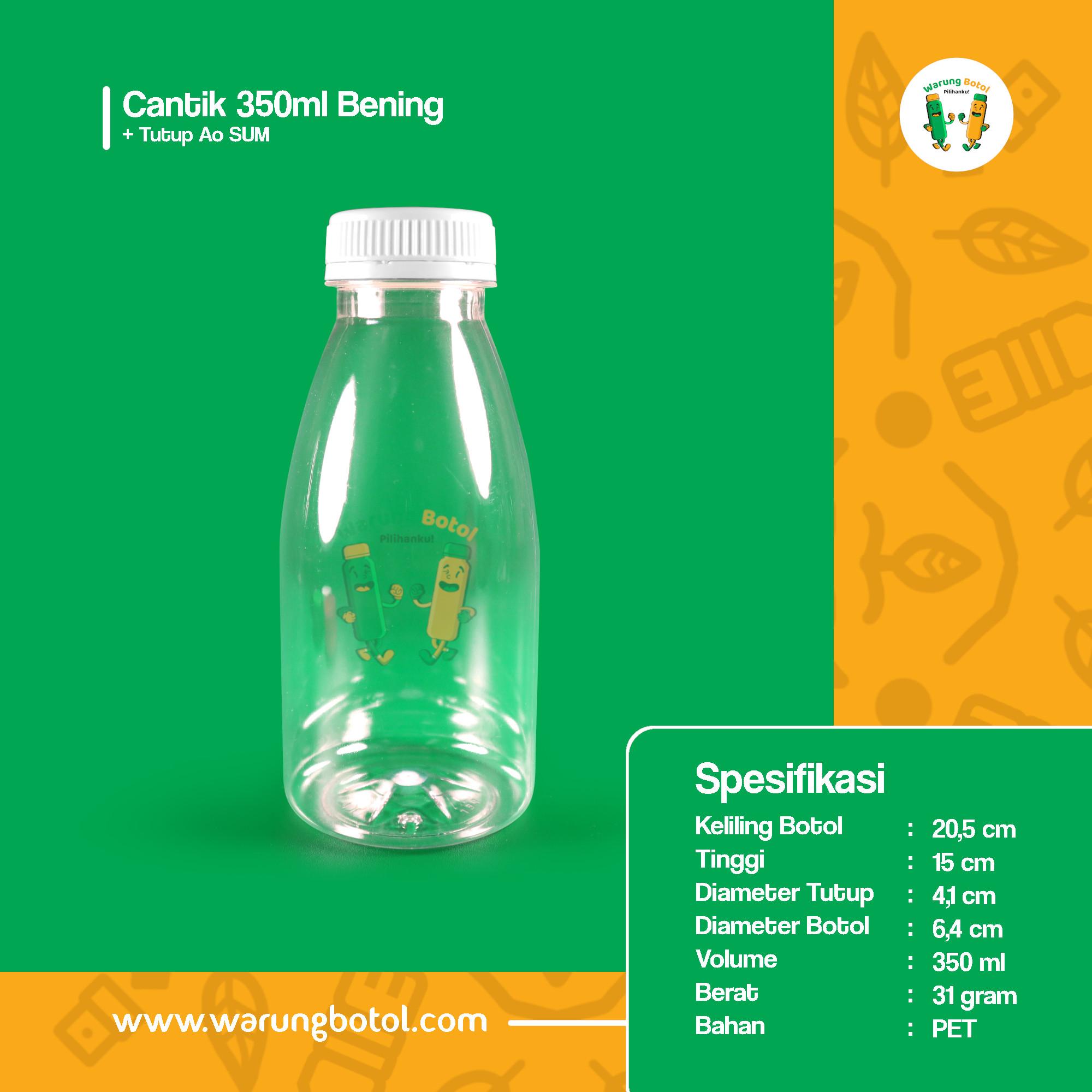 distributor toko jual botol plastik minuman unik 350ml bening murah terdekat bandung jakarta bogor bekasi