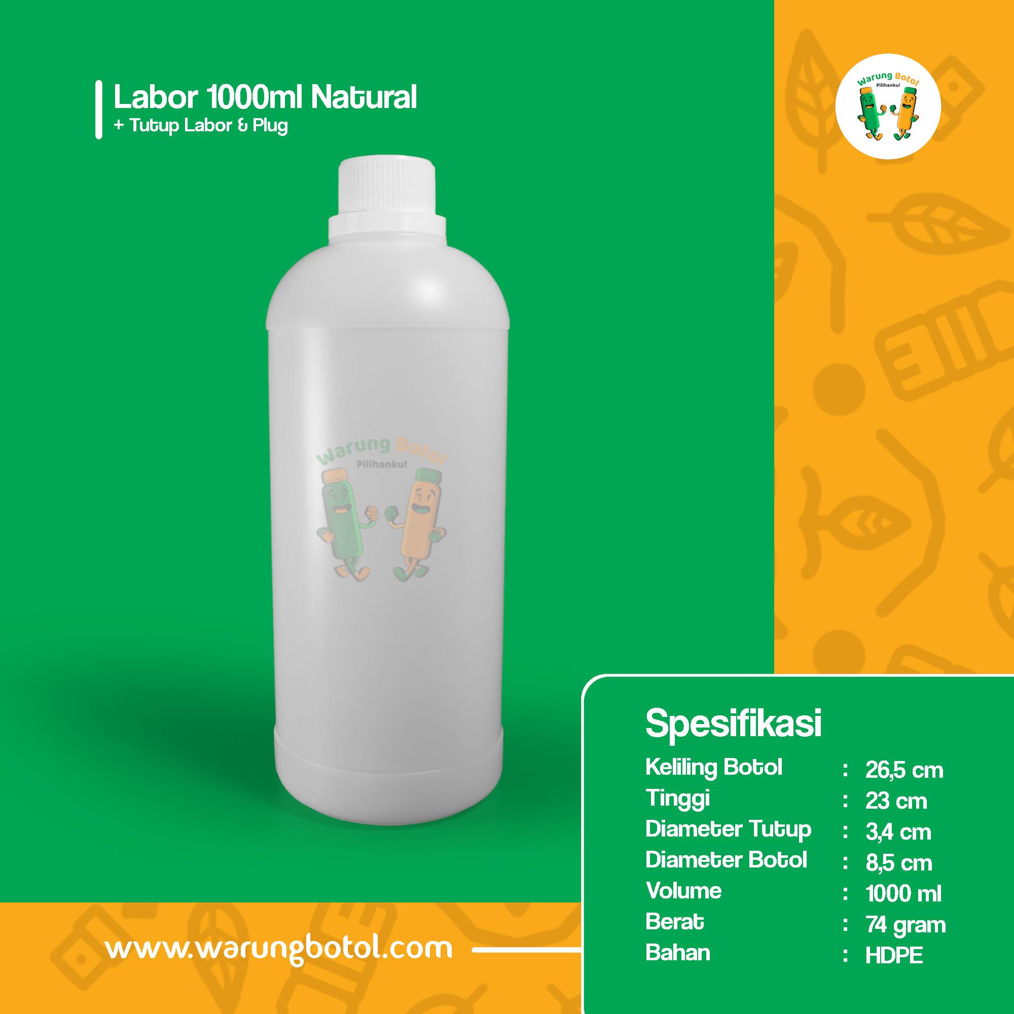 distributor toko jual botol plastik labor untuk bahan kimia 1000ml natural murah terdekat bandung jakarta bogor bekasi