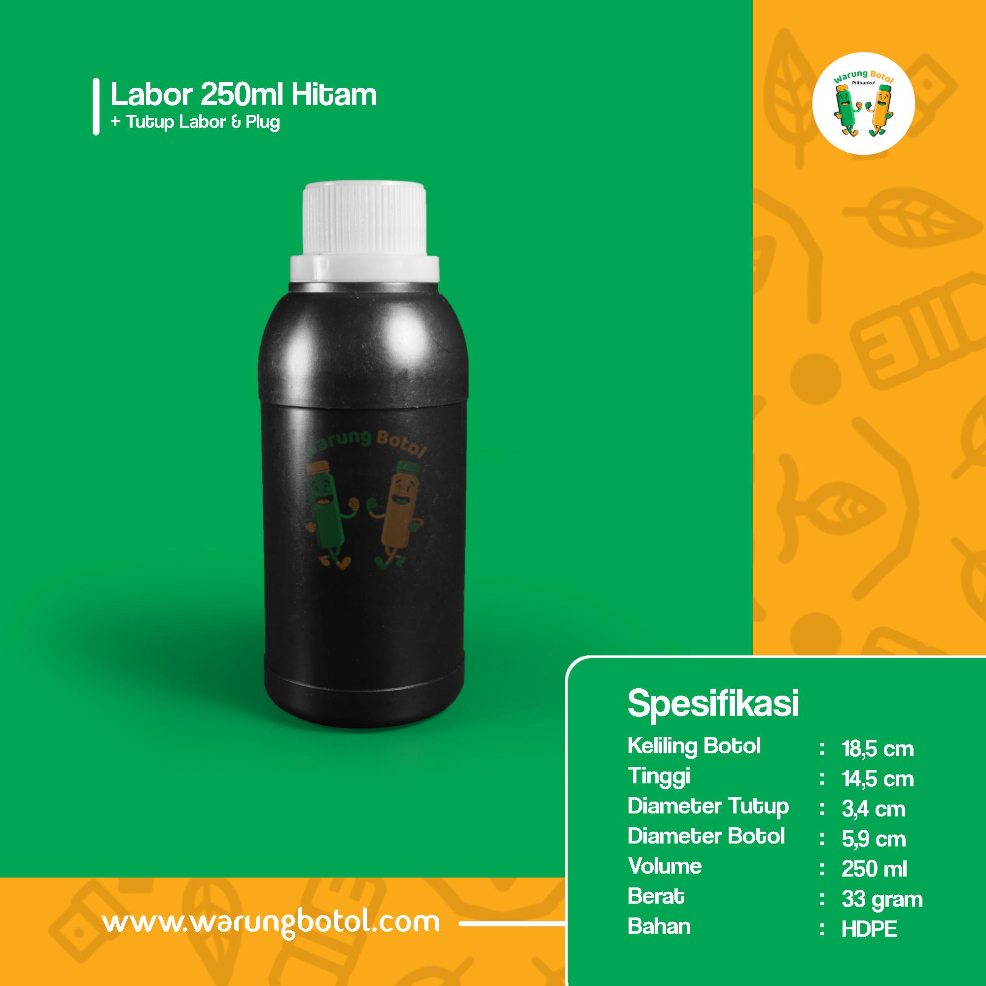 distributor toko jual botol plastik labor untuk bahan kimia 250ml hitam murah terdekat bandung jakarta bogor bekasi