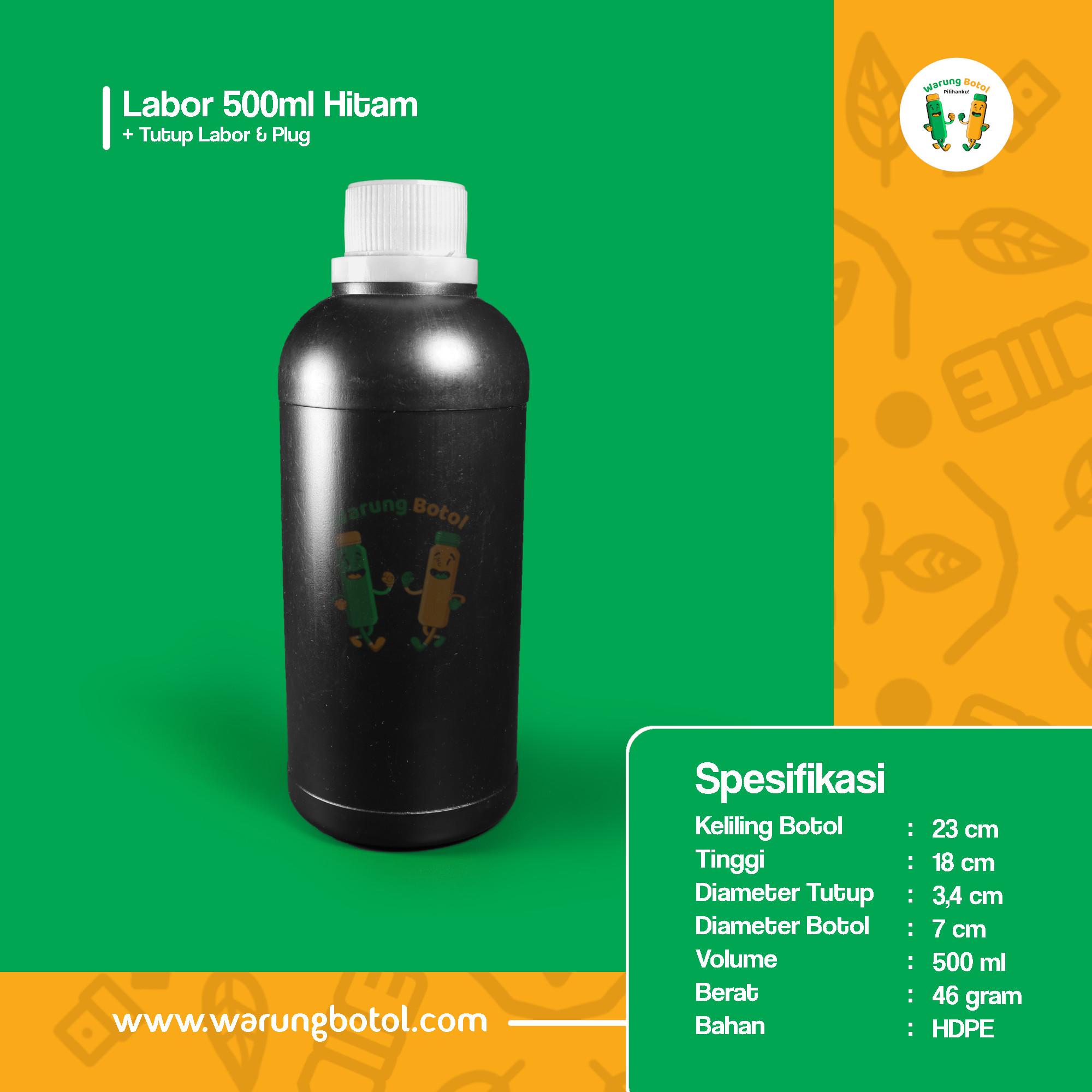 distributor toko jual botol plastik labor untuk bahan kimia 500ml hitam murah terdekat bandung jakarta bogor bekasi