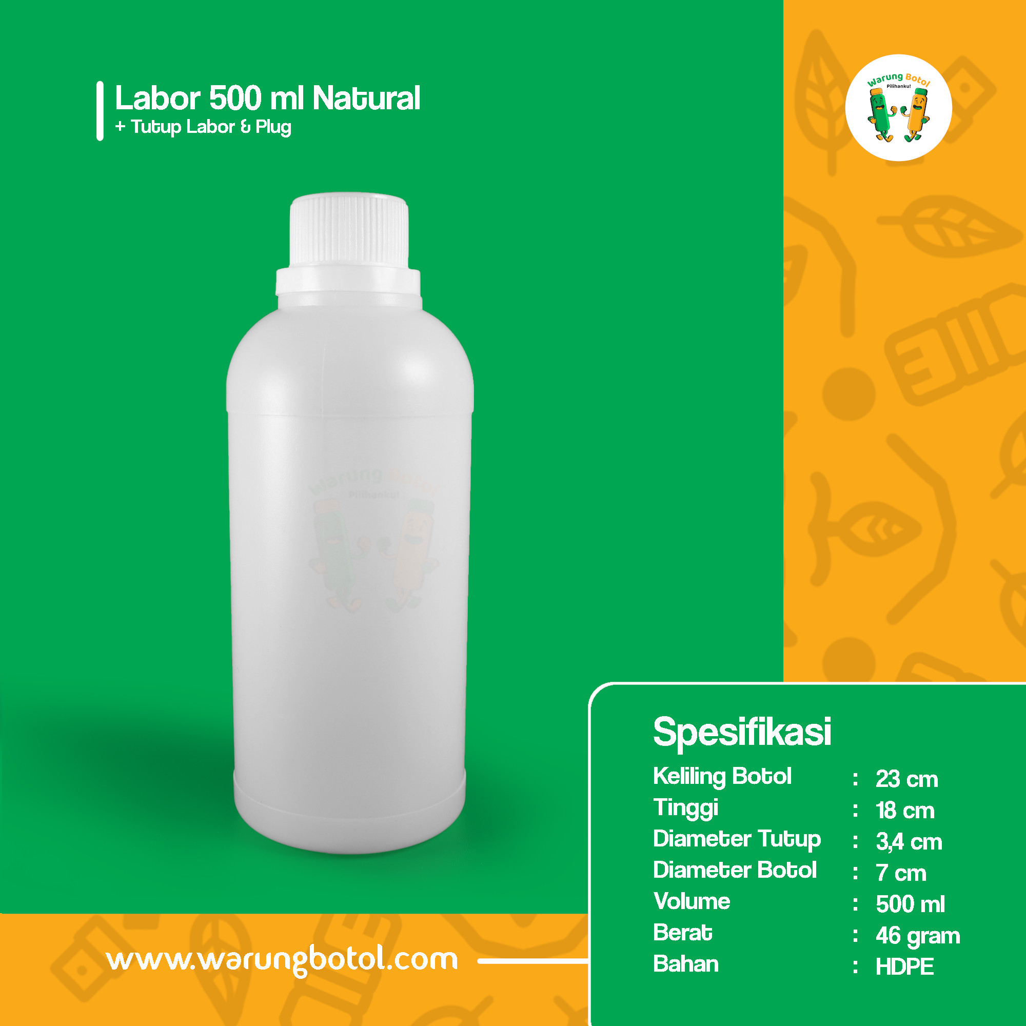 distributor toko jual botol plastik labor untuk bahan kimia 500ml natural murah terdekat bandung jakarta bogor bekasi