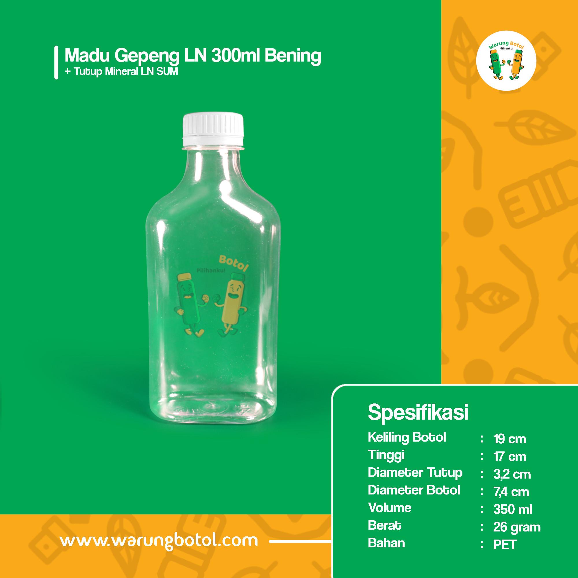 distributor toko jual botol plastik untuk madu 300ml bening murah terdekat di bandung jakarta bogor bekasi