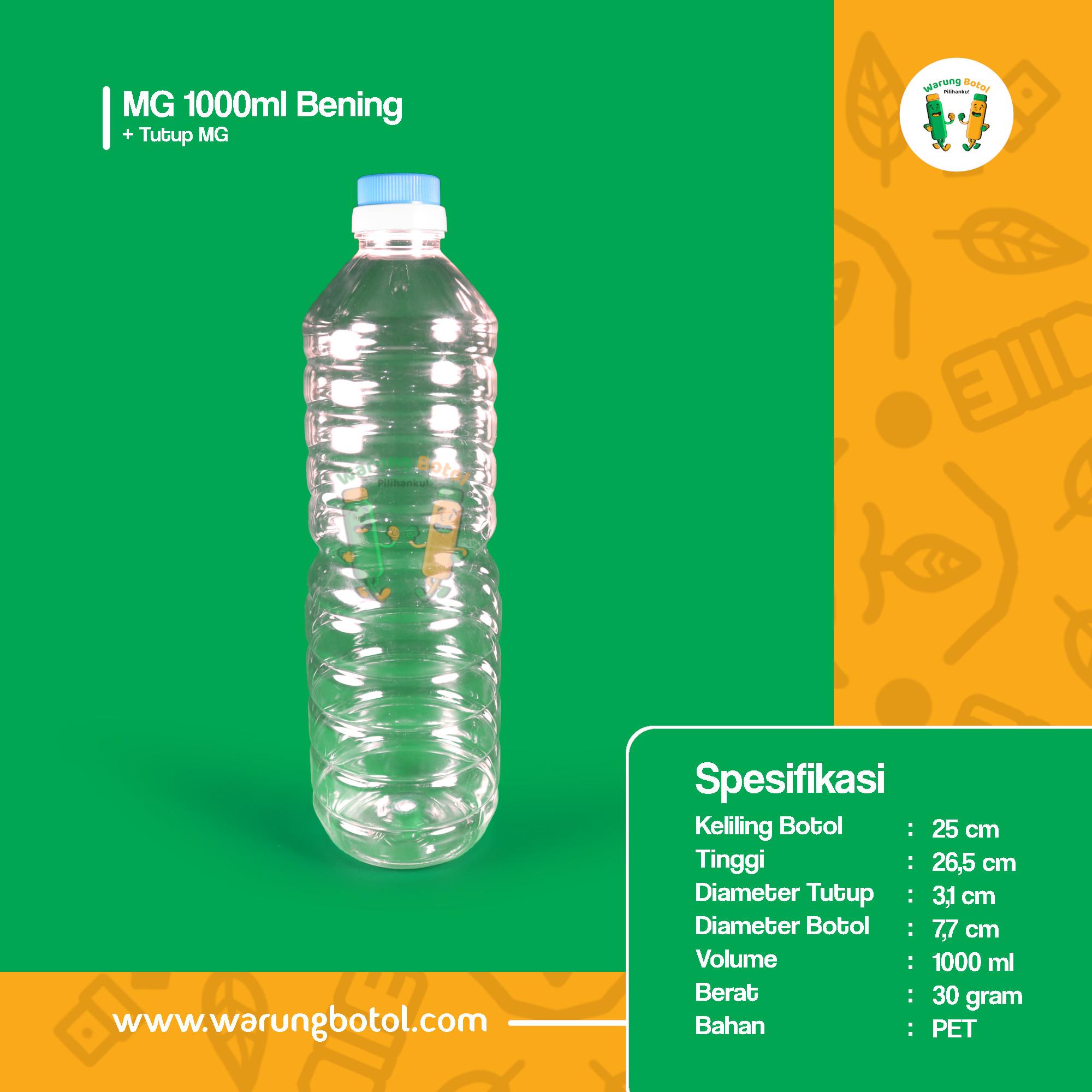 distributor toko jual botol plastik untuk minyak goreng 1000ml / 1 Liter bening murah terdekat di bandung, jakarta, bogor, bekasi