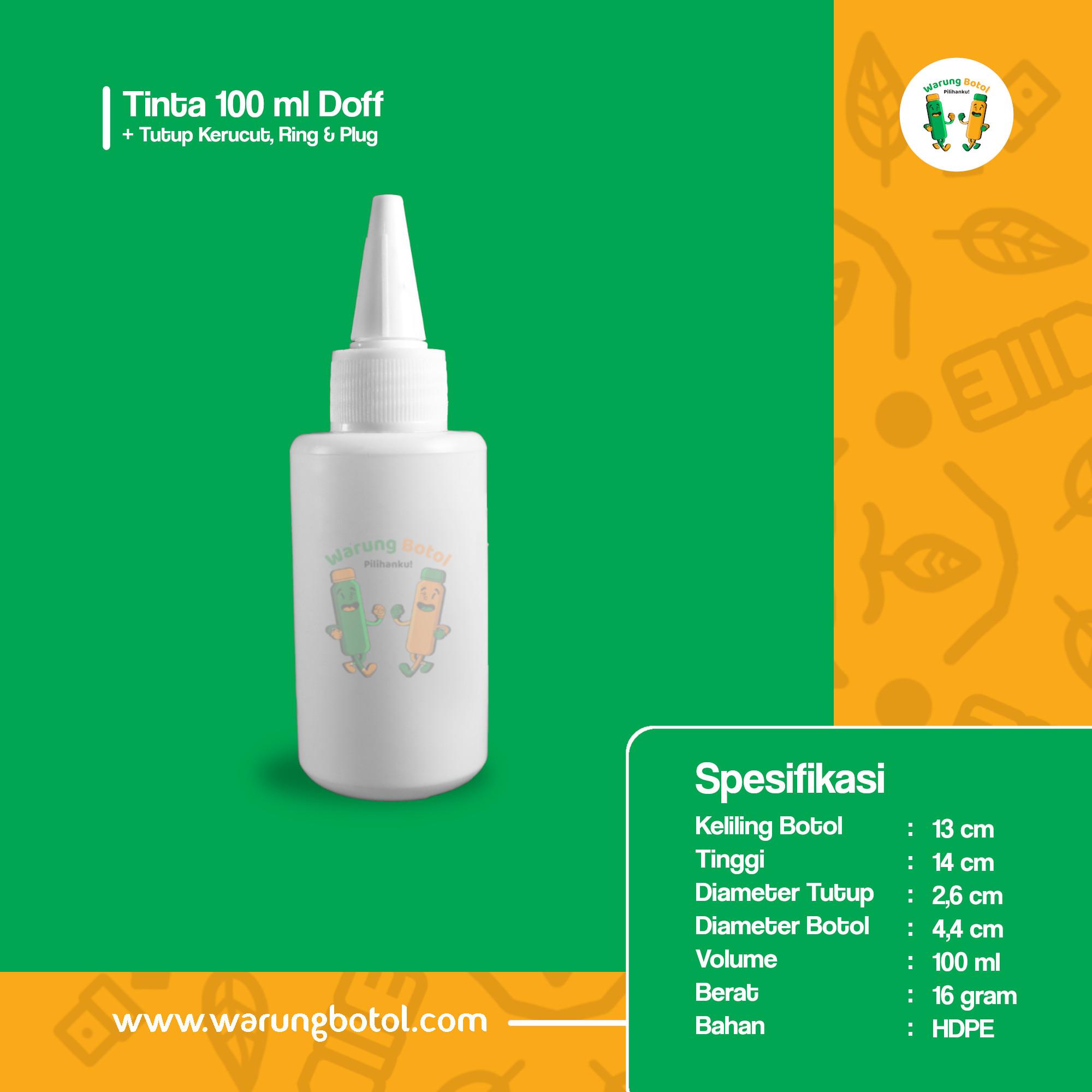 distributor toko jual botol plastik untuk tinta 100ml murah bahan hdpe tutup kerucut untuk tinta terdekat di bandung, jakarta, bekasi dan bogor