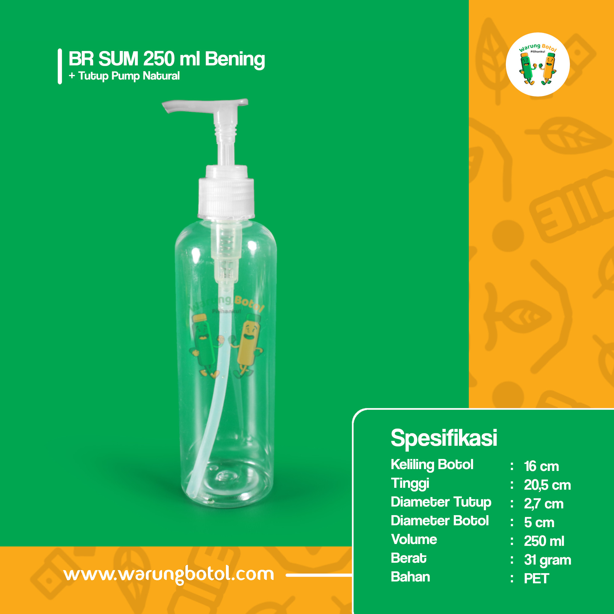 Distributor Toko jual botol plastik hand sanitizer, sabun cair 250ml tutup pump di bandung, bogor, jakarta, bekasi dan sekitarnya