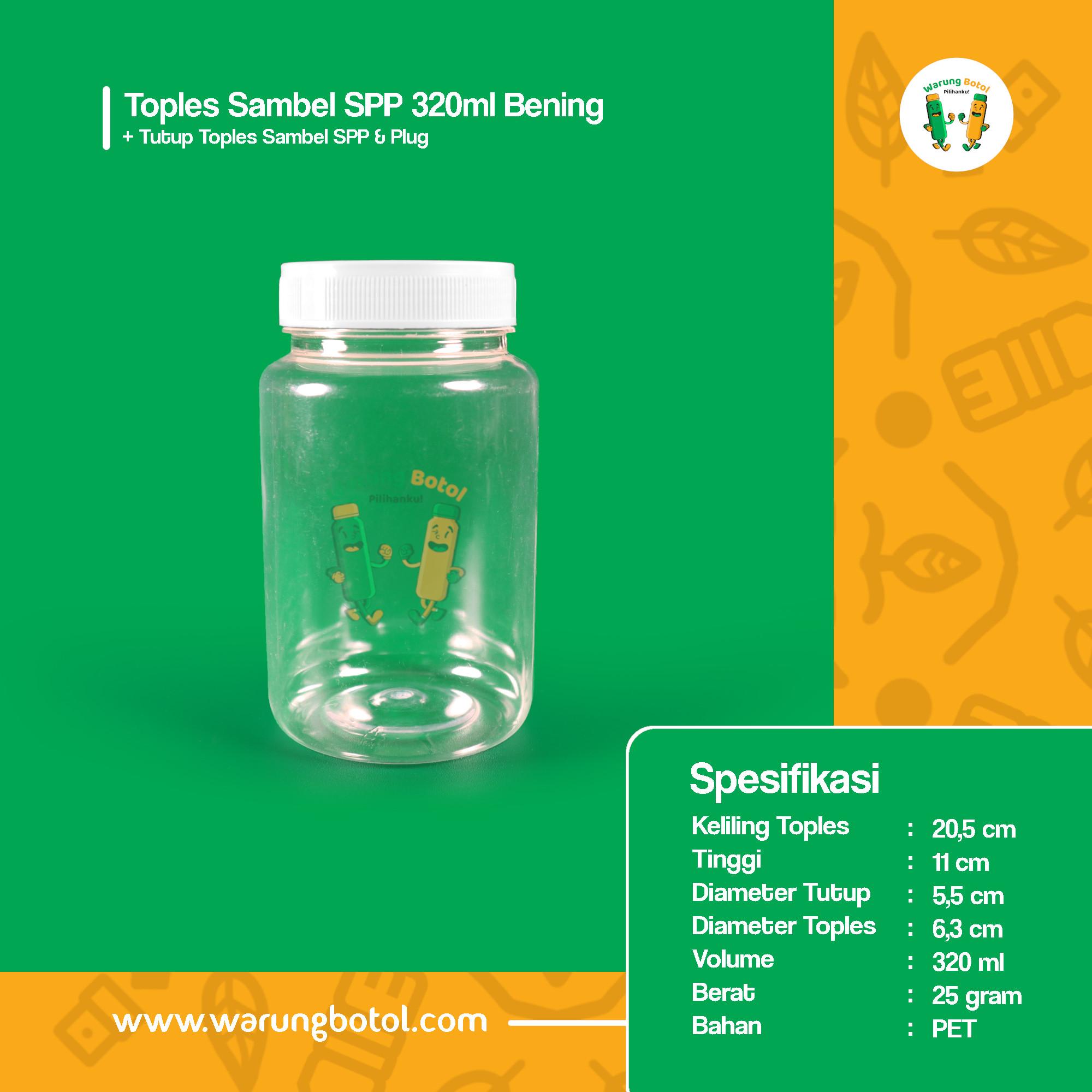 distributor toko jual toples botol plastik sambal kotak 320ml silinder murah untuk sambel terdekat di bandung, jakarta, bekasi, bogor