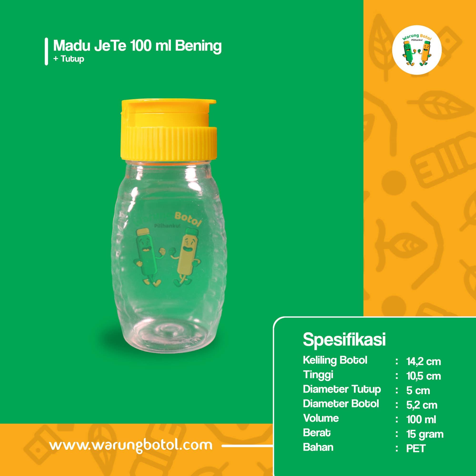 distributor toko jual botol plastik untuk madu tj 100ml murah, kemasan aman untuk madu terdekat di bandung jakarta bekasi bogor