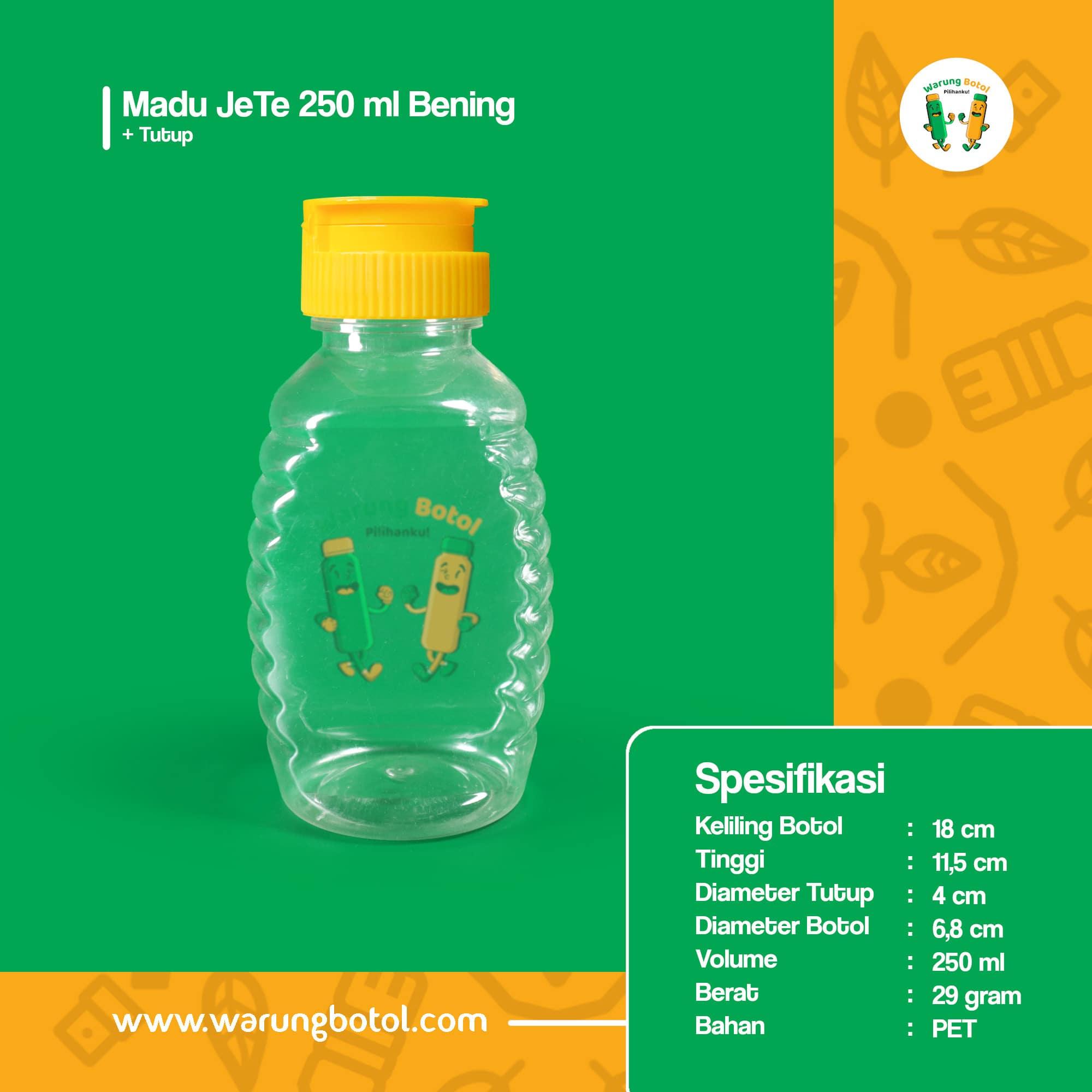 distributor toko jual botol plastik untuk madu tj 250ml murah, kemasan aman untuk madu terdekat di bandung jakarta bekasi bogor