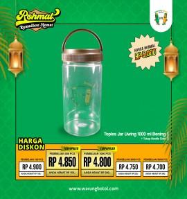 Toples Jar Uwing 1000ml Bening Handle Gold