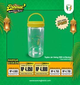 Toples Jar Uwing 1000ml Handle Kuning