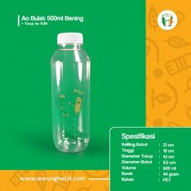 Foto Botol Ao Bulat 500 ml Bening