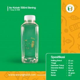 Foto Botol Ao Kotak 500 ml Bening