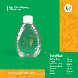 Foto Botol Tejo 150 ml Bening - Tutup Fliptop Natural Rata