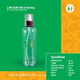 Foto Botol BR 250 ml Bening - Tutup Pump Chrome Pink