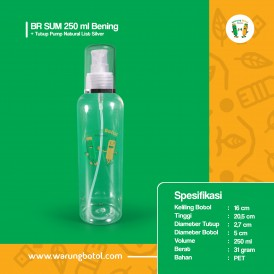 Foto Botol BR 250 ml Bening - Tutup Pump Natural List Silver