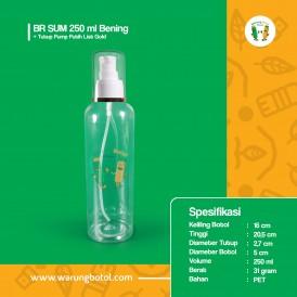 Foto Botol BR 250 ml Bening - Tutup Pump Putih List Gold