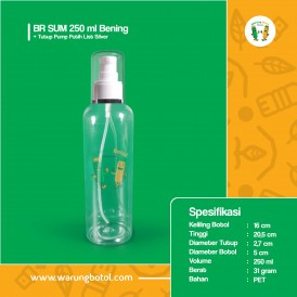 Foto Botol BR 250 ml Bening - Tutup Pump Putih List Silver