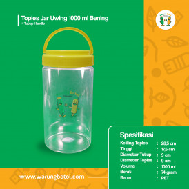 Foto Toples Jar Uwing 1000 ml Bening - Tutup Handle